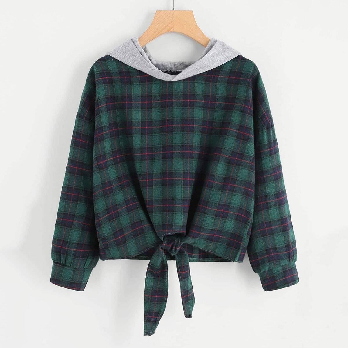 Hoodie sweatshirt met knoop