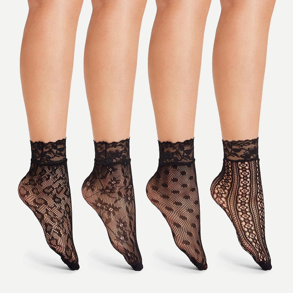 Lace Trim Net Socks 4pairs
