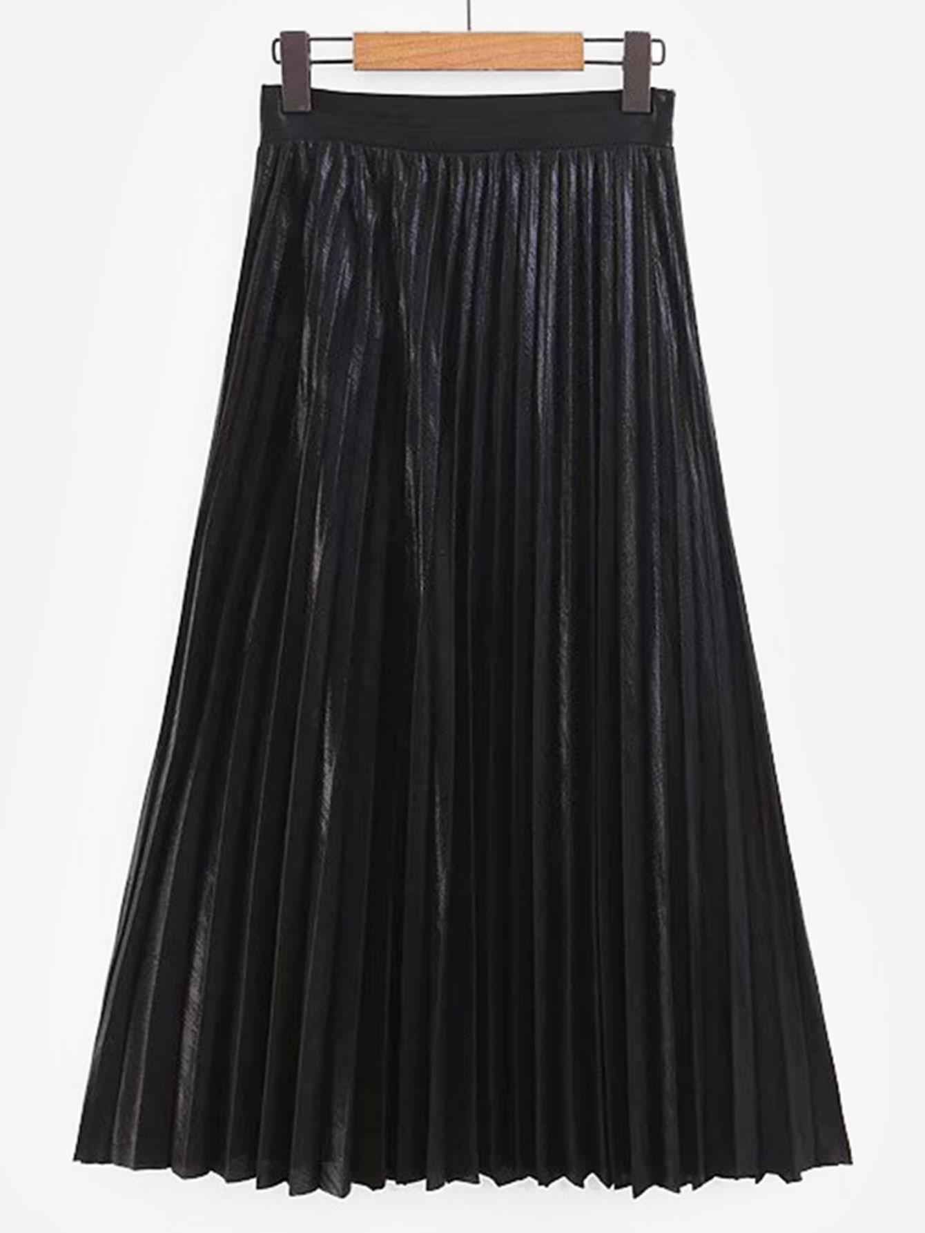 Плиссированная однотонная юбка SheIn