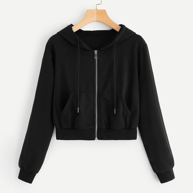 Zip Up Hooded Drawstring Jacket, Black