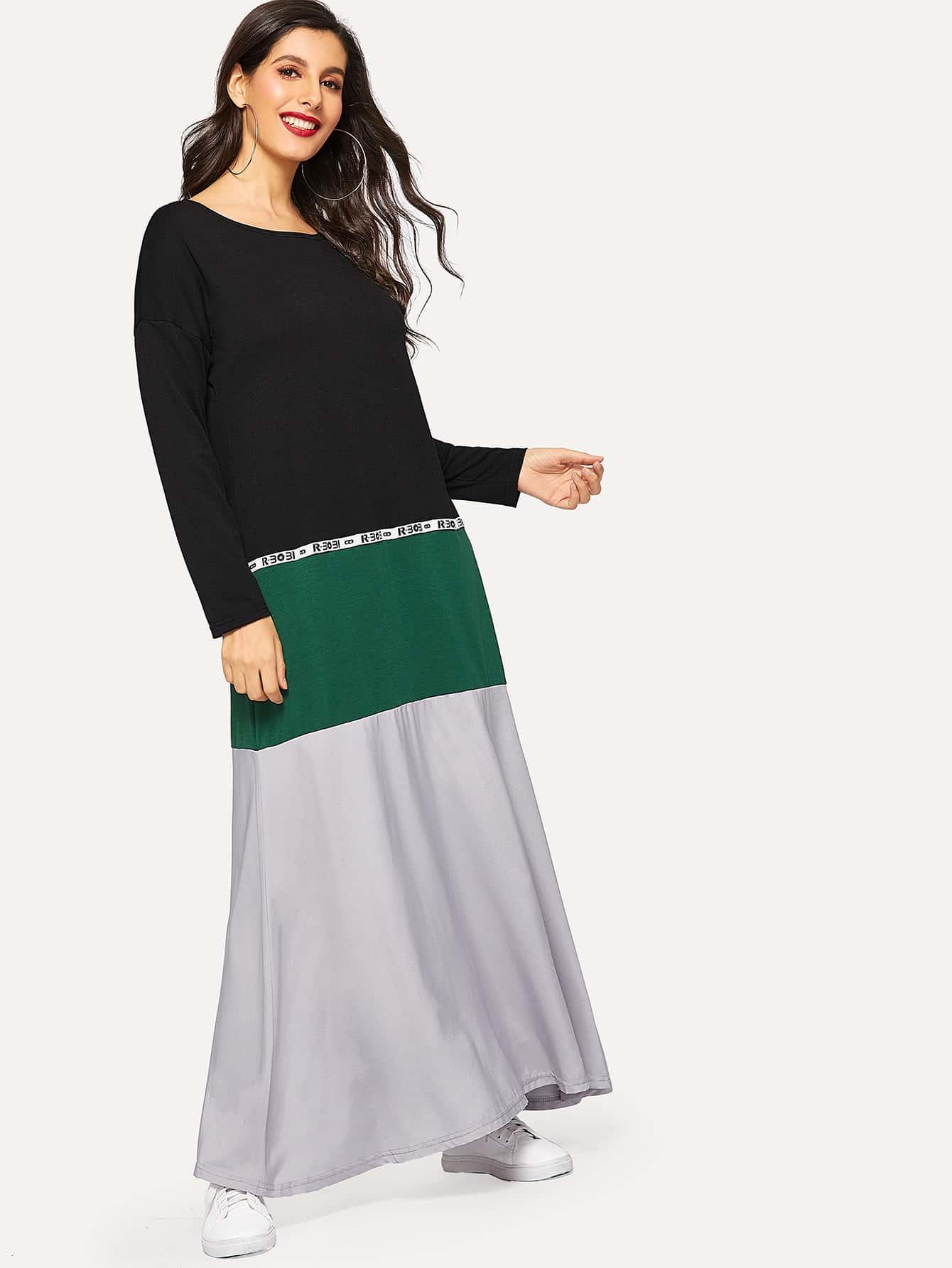 Купить Контрастное длинное платье в полоску с текстовым принтом, Jeane, SheIn