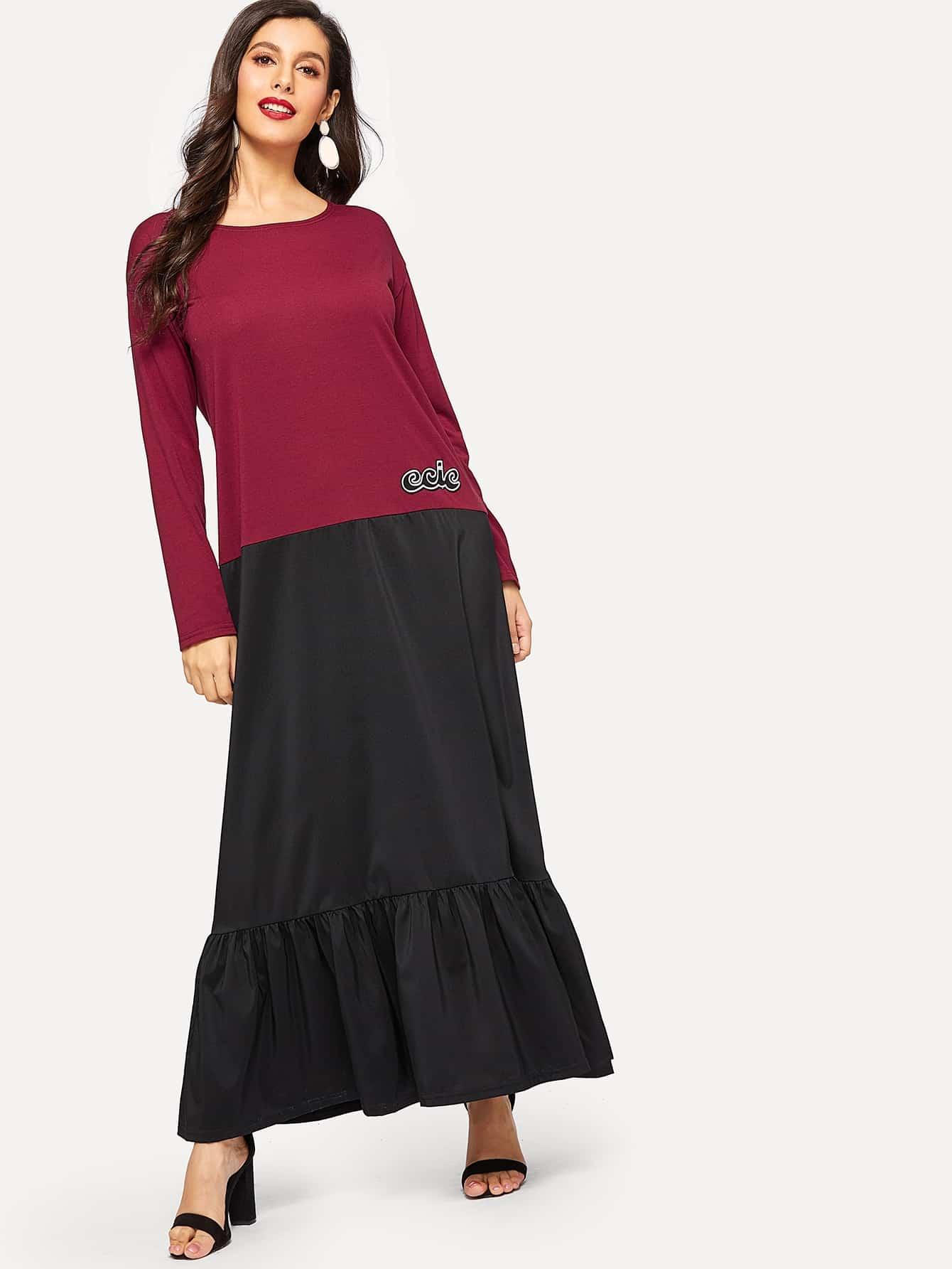 Купить Длинное платье с оборками и текстовым принтом, Jeane, SheIn