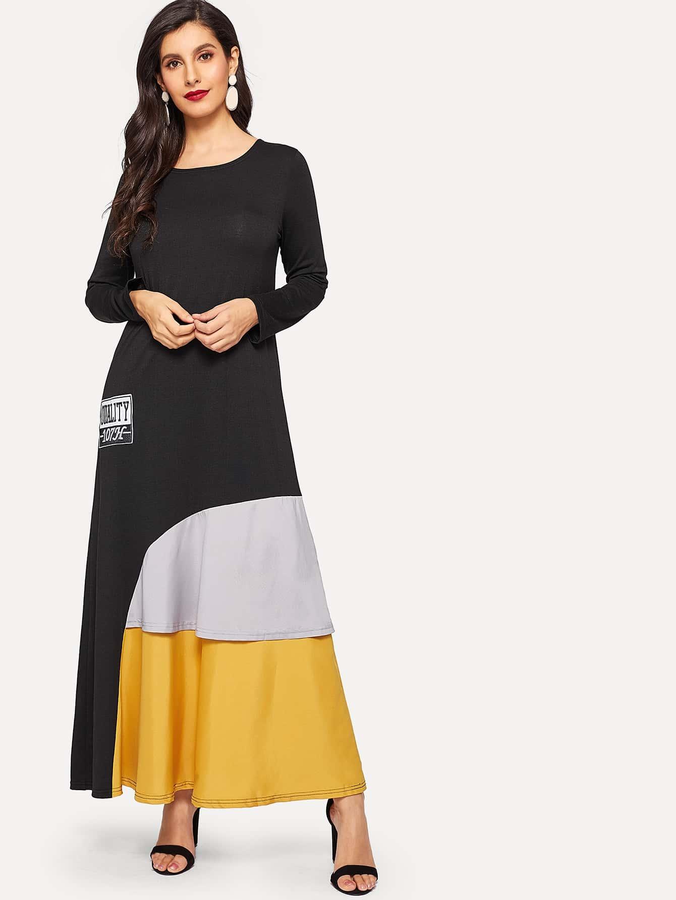 Купить Стильное длинное платье с вышитым текстовым принтом, Jeane, SheIn
