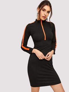 Zip Front Contrast Tape Slit Fitted Dress