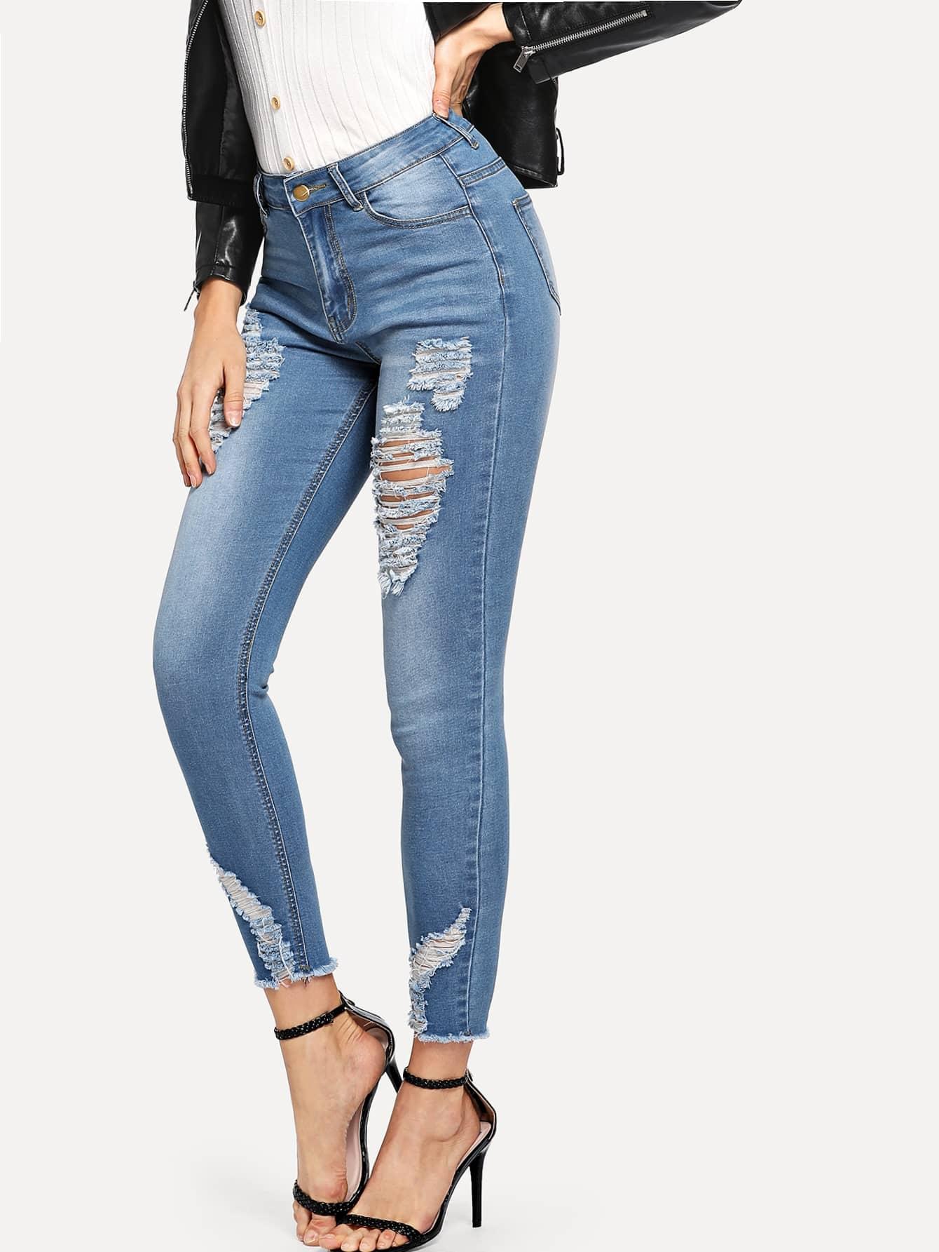 Купить Обтягивающие джинсы с необработанным краем, Masha, SheIn