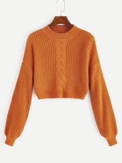 Mock-neck Mixed Knit Crop Jumper