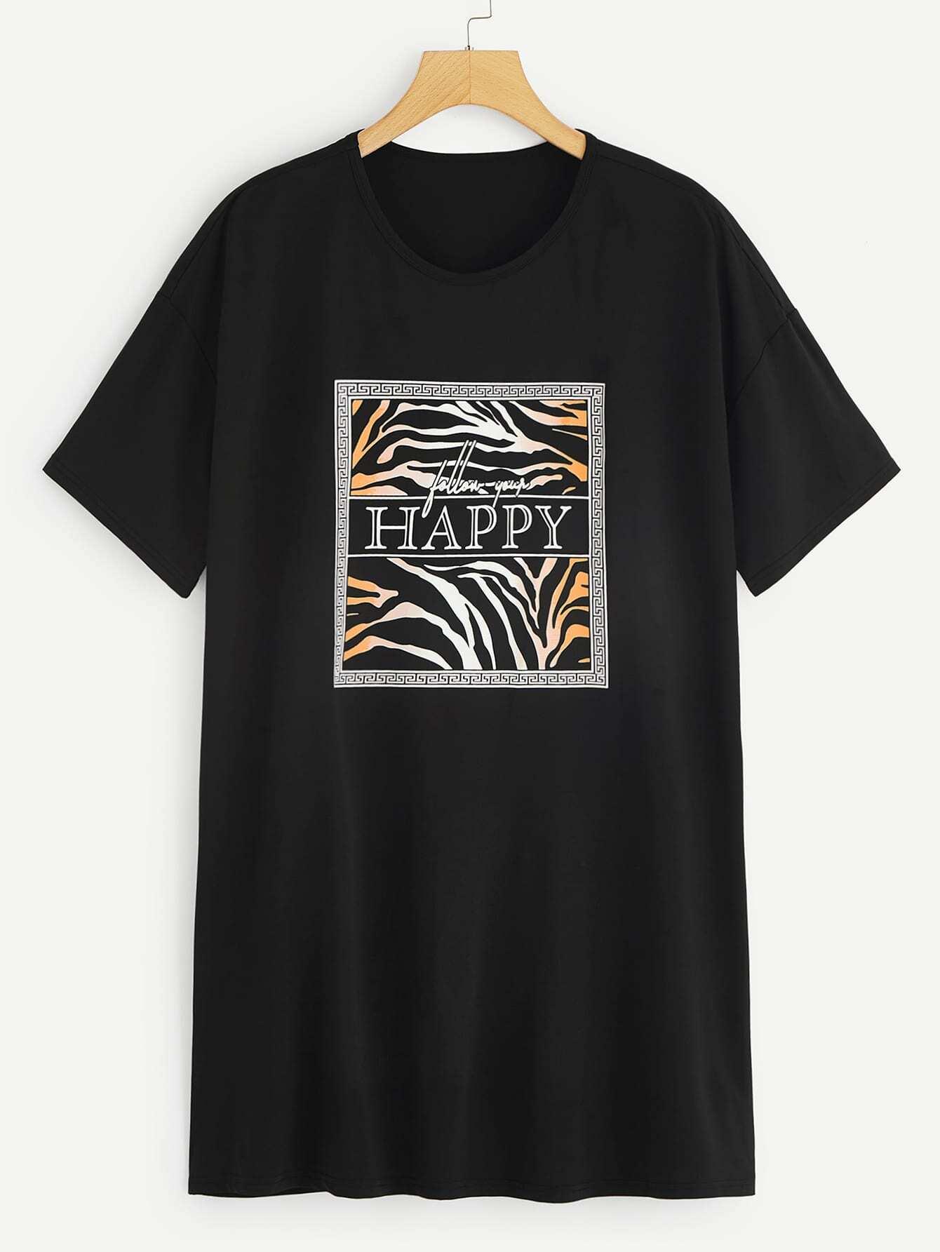 Купить Размер плюс длинная футболка с графическим принтом, null, SheIn