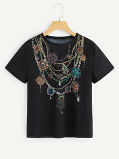 Chain Print Short Sleeve Tee