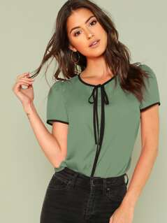 Contrast Binding Tie Neck Top