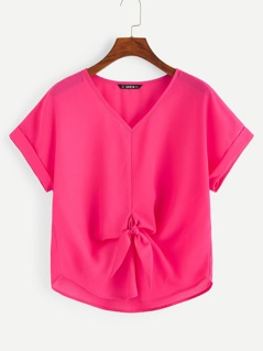 Cuffed Sleeve Knot Front Neon Pink Top