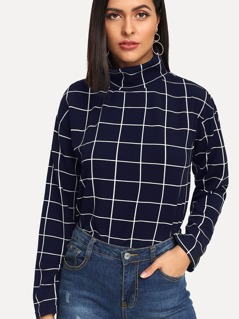 High Neck Grid Top