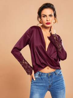 Lace Cuff Plunge Neck Draped Wrap Satin Top