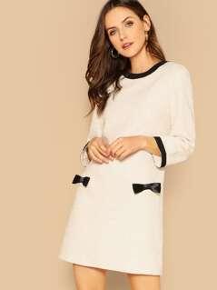 Bow Detail Tweed Tunic Dress