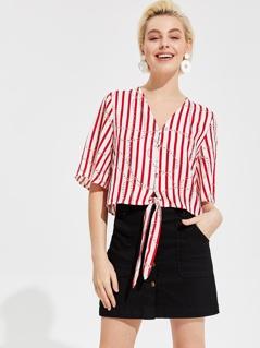 Chain and Striped Knot Hem Shirt