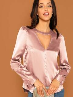 Choker Neck Keyhole Back Curved Hem Satin Top