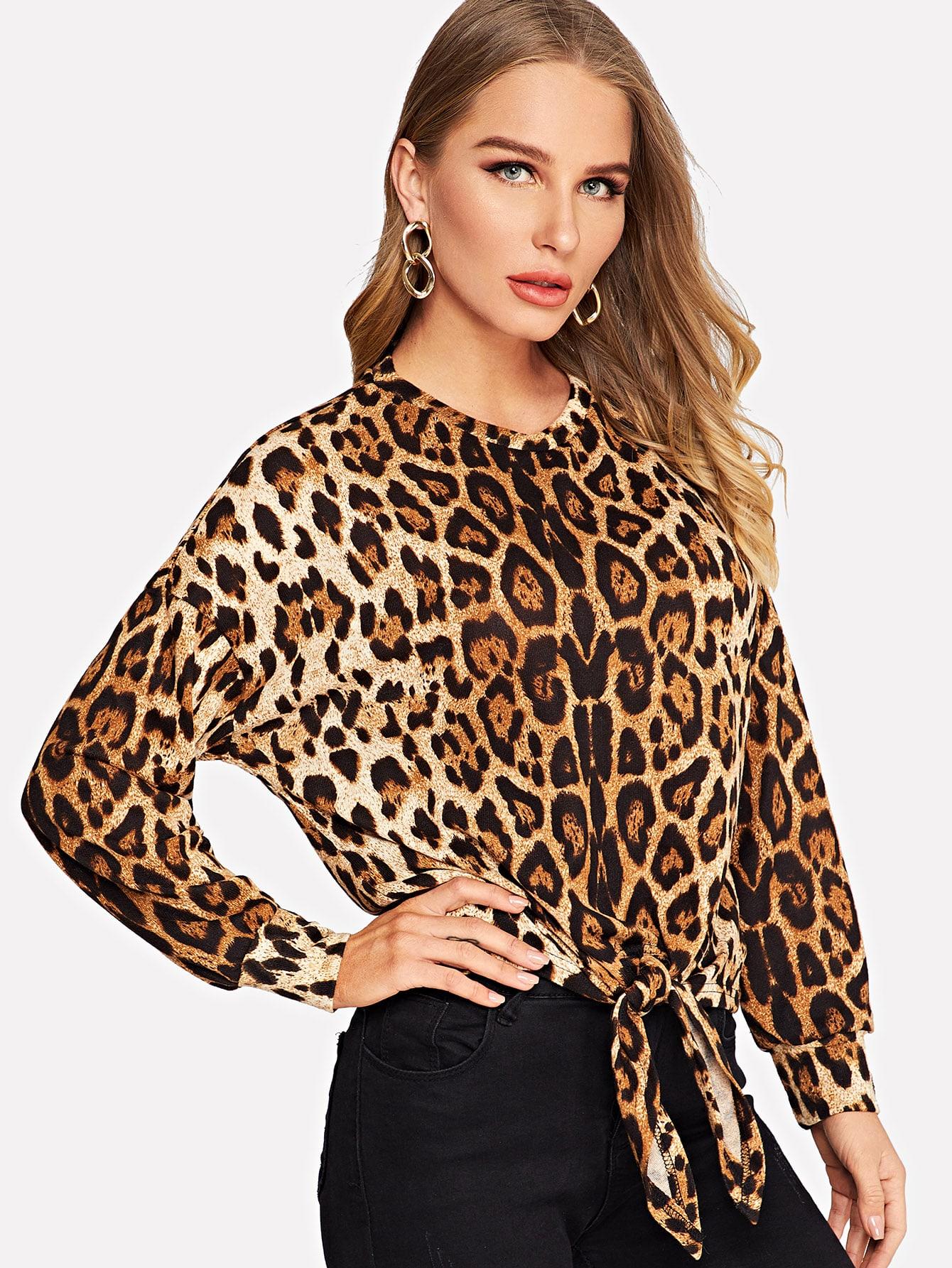 Купить Пуловер с леопардовым принтом и узлом, Sasha O, SheIn