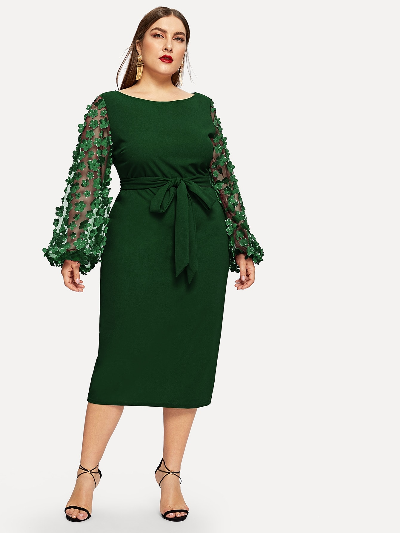 Купить Размера плюс платье с поясом и оригинальным рукавом с 3D вставкой, Franziska, SheIn
