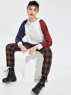 Chain & Plaid Raglan Sleeve Pullover