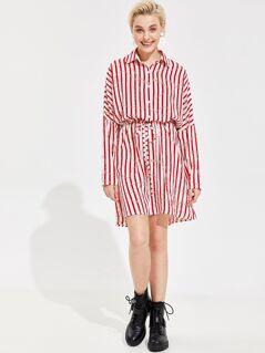 Striped and Chain Print Drawstring Waist Shirt Dress