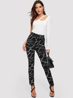 Tied Waist Geo Print Skinny Pants