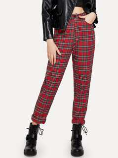 Button Front Plaid Straight Leg Pants