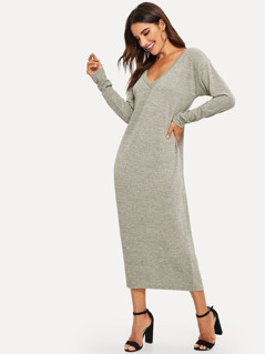 V-neck Heathered Tunic Longline Dress