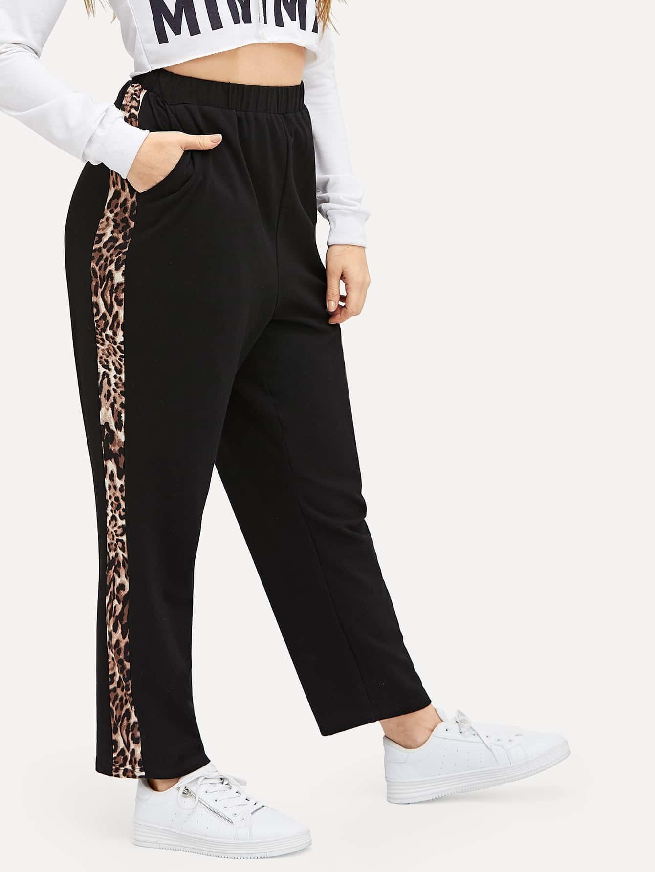 Купить Спортивные брюки с леопардовым принтом размера плюс, Isabela, SheIn