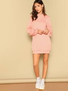 Lantern Sleeve Solid Sweatshirt Dress
