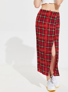 Buttoned Split Front Chain & Plaid Skirt