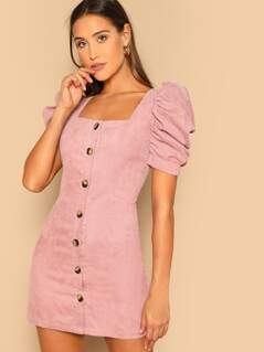 Single Breasted Puff Sleeve Corduroy Fitted Dress