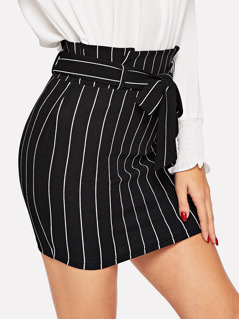 Paperbag Waist Belted Pinstripe Bodycon Skirt