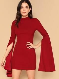 Split Sleeve Open Back Bodycon Dress