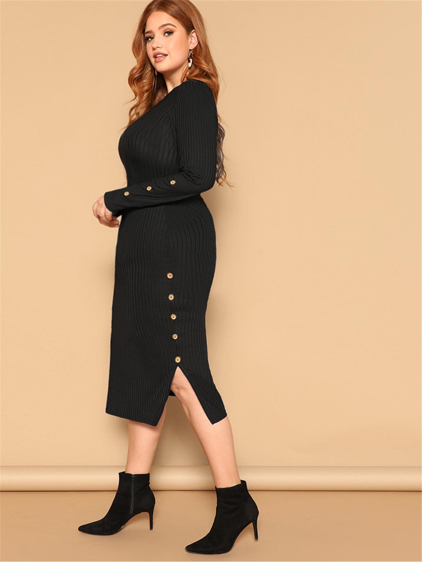 Размер плюс ребристое платье-карандпш с пуговицами и разрезом