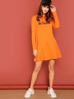 Neon Orange Letter Print Swing Dress