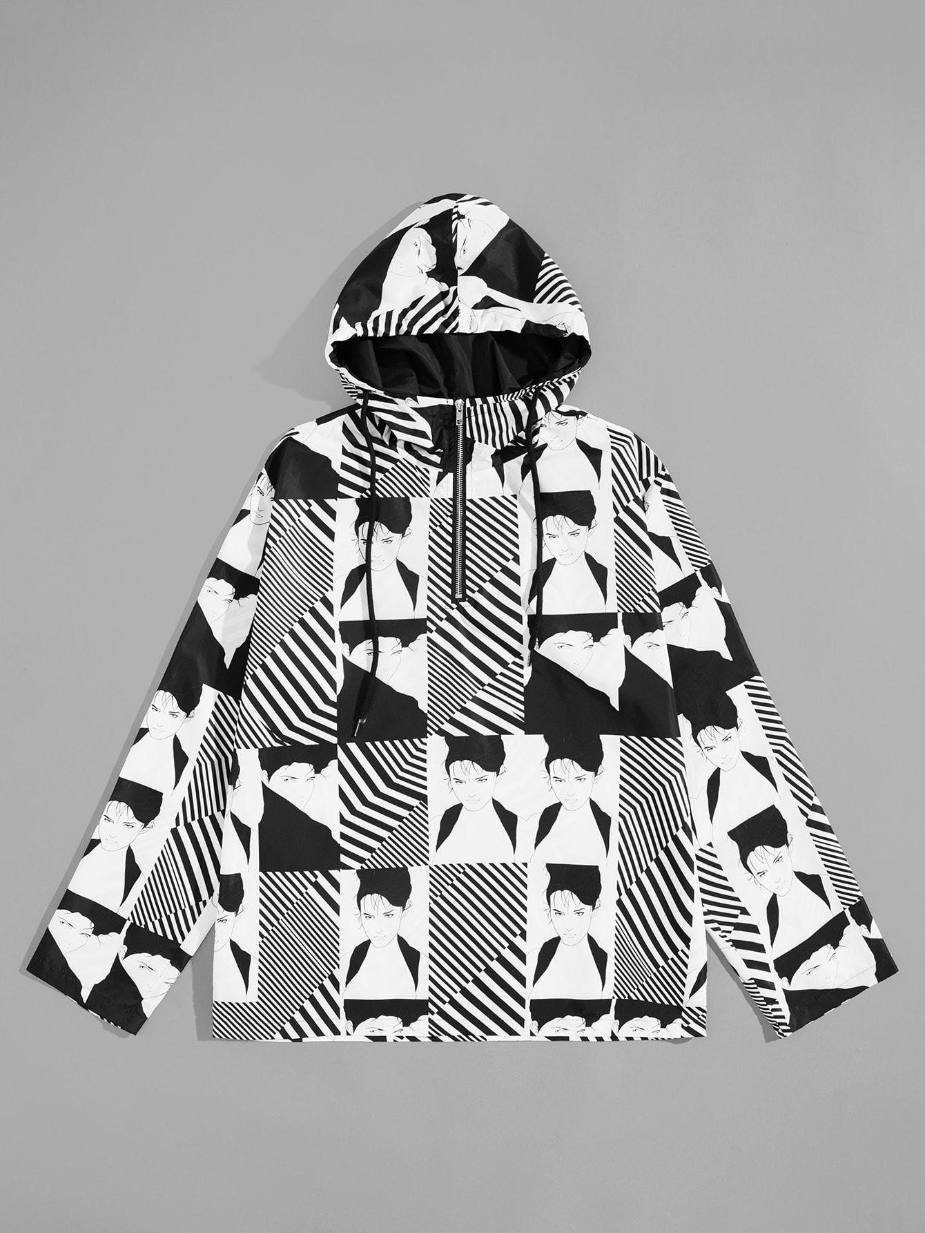 Купить Мужская куртка на молнии с принтом графическим и полосатым, null, SheIn