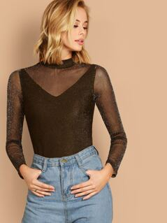 Mock-neck Glitter Mesh Overlay Top