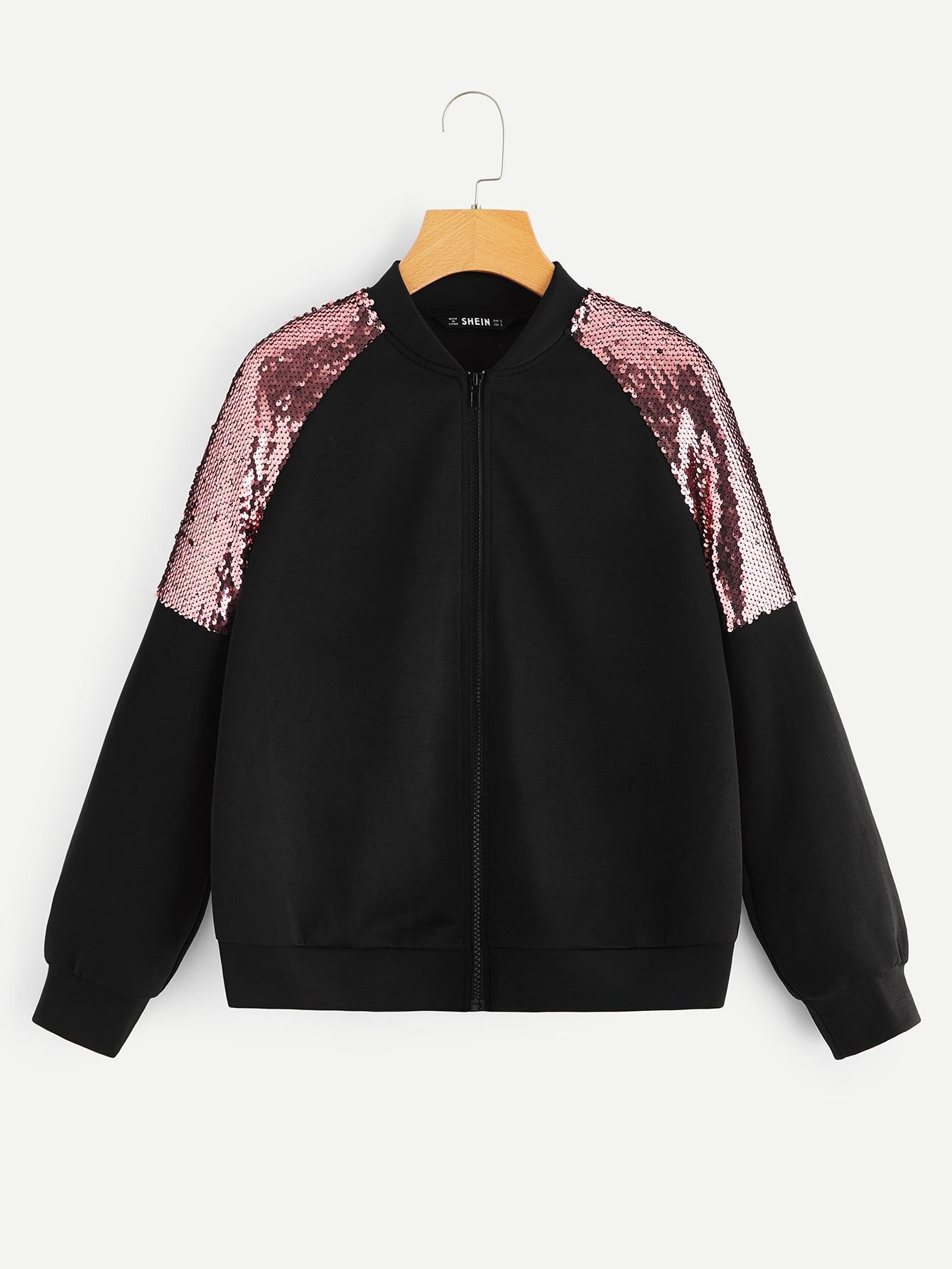 Купить Куртка на молнии с регланом рукавом и блестками, null, SheIn