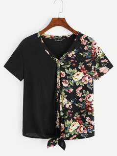 Floral Print Button Up Knot Hem Tee