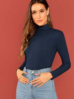 High Neck Lettuce Trim Rib-knit Top