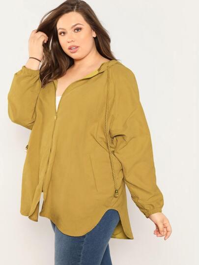 SheIn / Plus Raglan Sleeve Curved Hem Hooded Coat