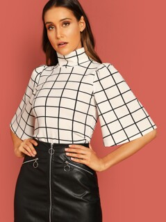 Turtle Neck Bell Sleeve Grid Top