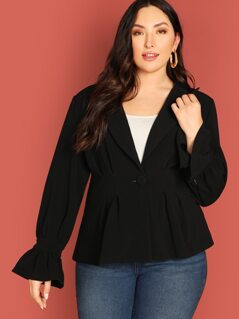 Plus Peak Collar Flounce Sleeve Peplum Coat