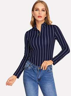 Pull-zip Front Pinstripe Fitted Tee