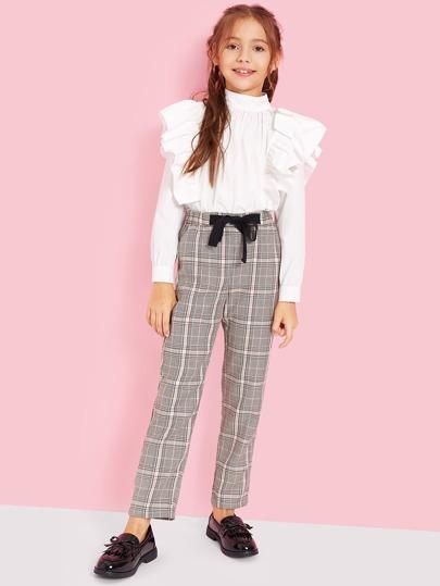 Girls Tie Waist Pocket Side Glen Plaid Pants