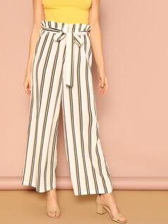 Paperbag Waist Belted Striped Wide Leg Pants