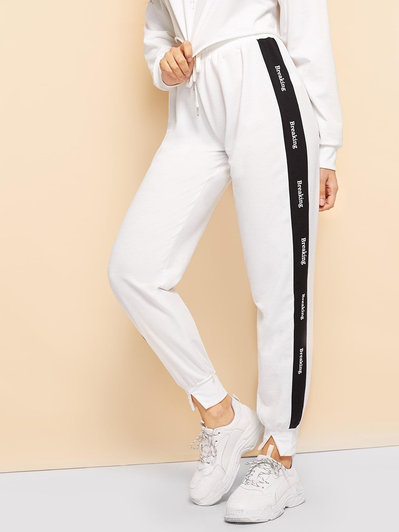 Купить Спортивные брюки с текстовым принтом в полоску, Jeane, SheIn
