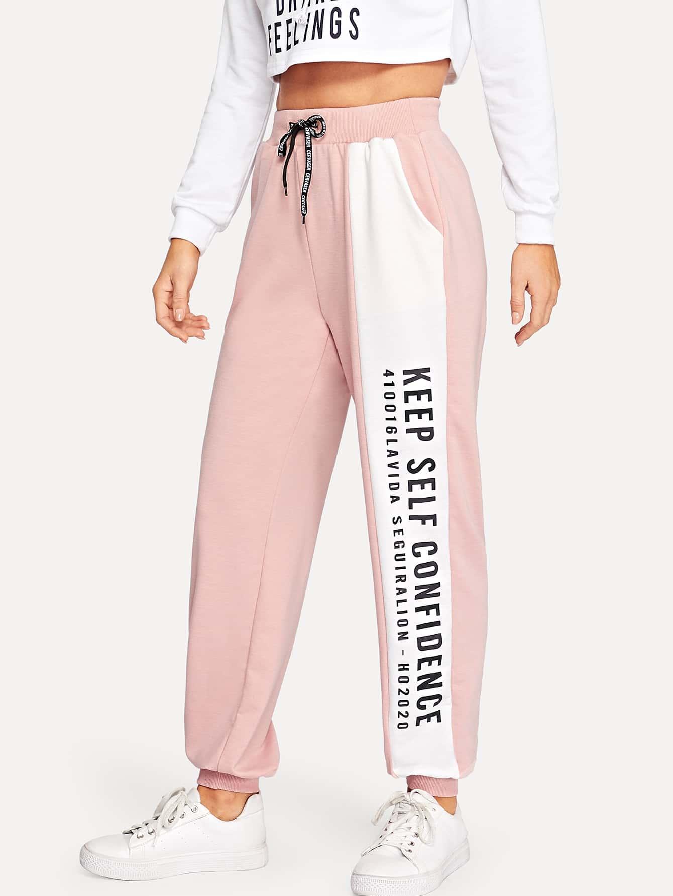 Купить Контрастные спортивные брюки с текстовым принтом, Sasha O, SheIn