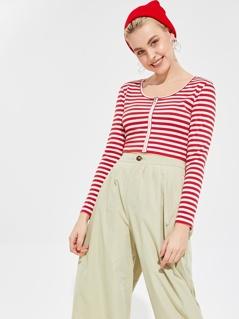 Zip Up Striped Rib-knit Crop Tee