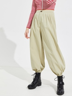 Pleat Detail Elastic Hem Lantern Pants