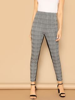 Cut-and-sew Glen Plaid Pants